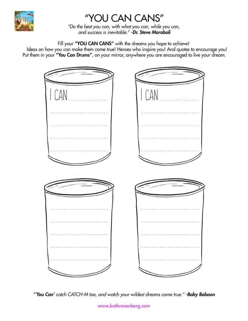 Motivational activity download for kids: You Can Cans