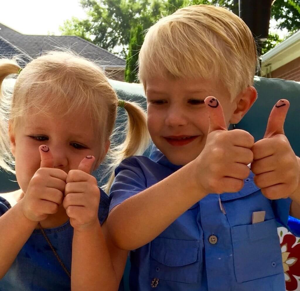 "Reese and Ryder Neff are having some ""THUMBS-UP"" fun with their CATCH-M creations."