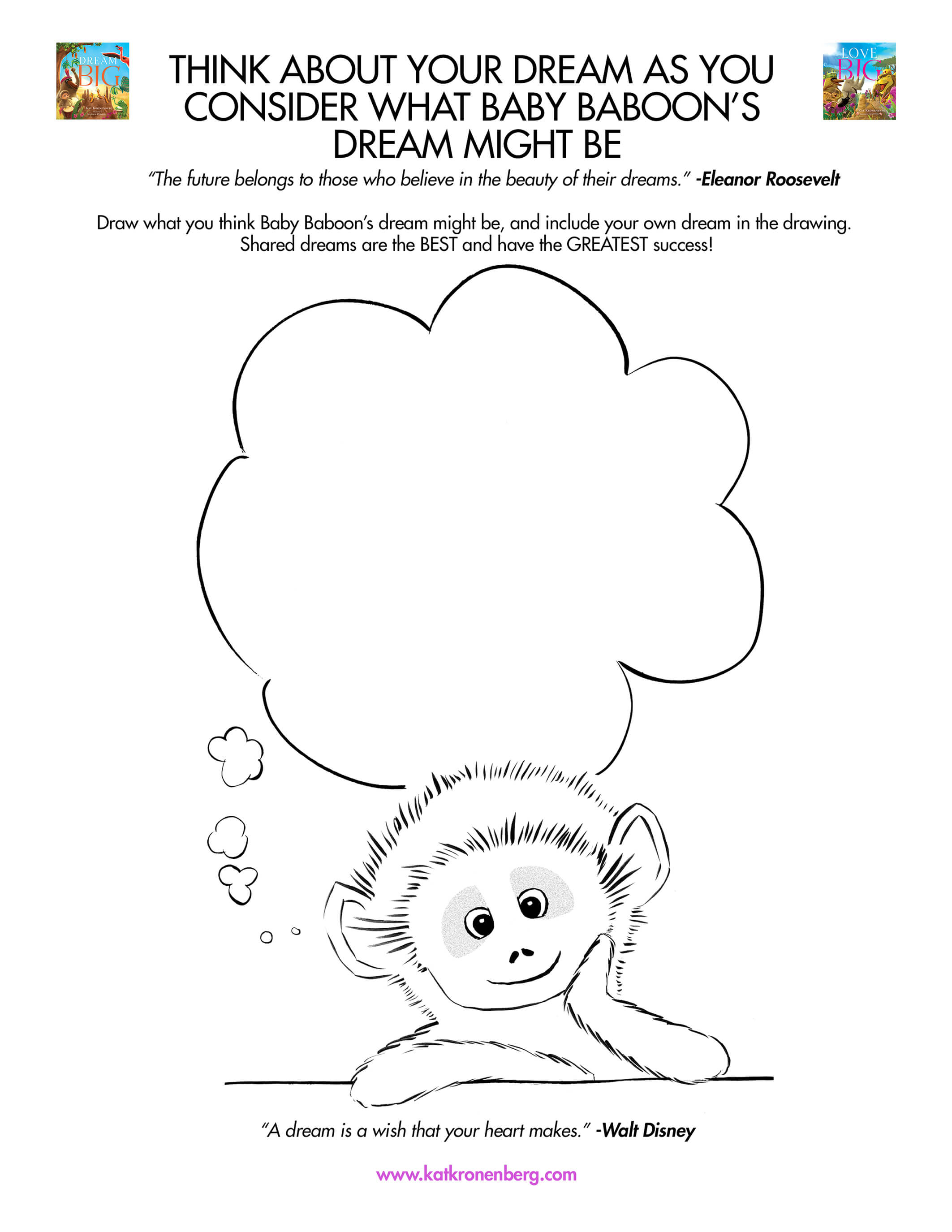 Motivational activity download for kids: Baby Baboon's Dream