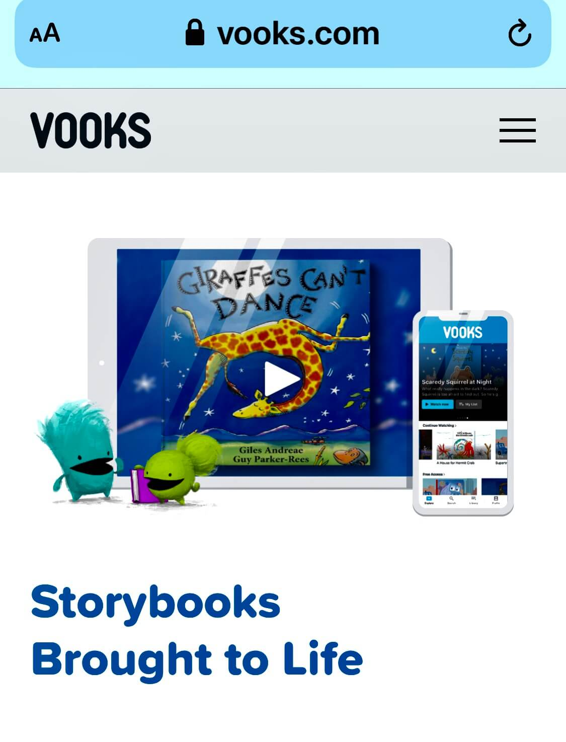 VOOKS! SIGN UP HERE! An incredible library of animated picture books! Fun, educational,
